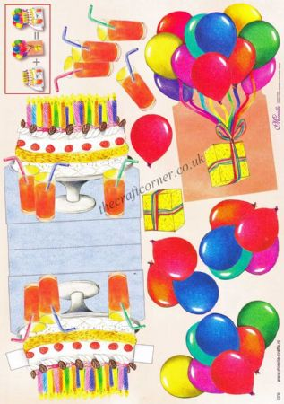 Birthday Cake and Balloons Stand Up 3d Decoupage Sheet